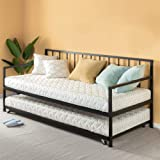 Zinus Eden Twin Daybed and Trundle Set / Premium Steel Slat Support / Daybed and Roll Out Trundle Accommodate Twin Size Mattr