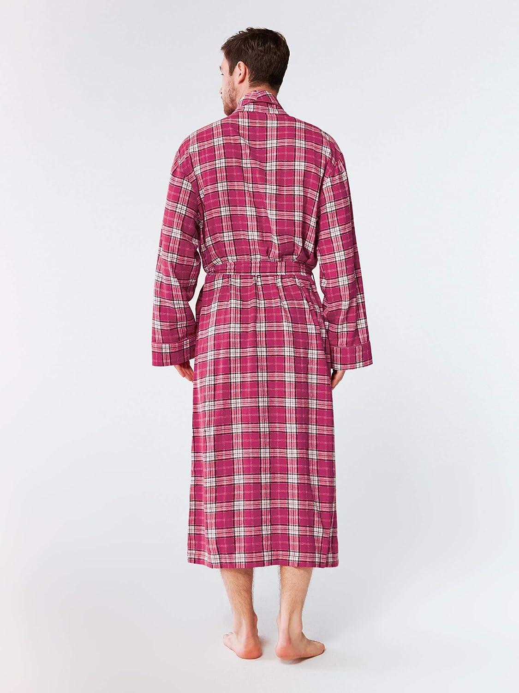 Soft Plaid Bathrobe Shawl Collar Sleepwear Loungewear SIORO Mens Cotton Flannel Robe