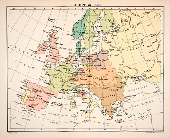 1897 Print Map Europe 1803 Great Britain France Prussia ...