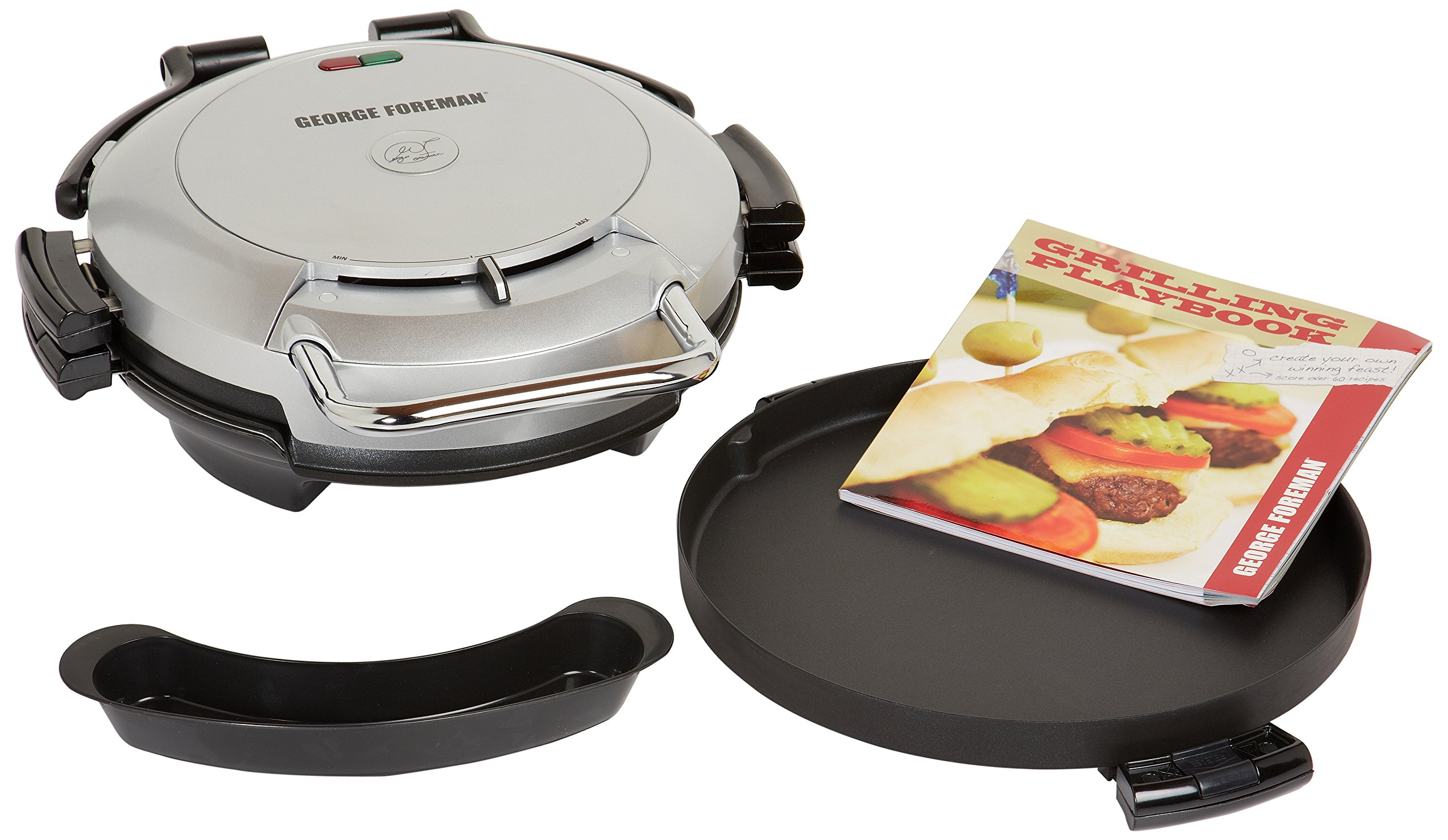 George Foreman GRP0720PQ 360 Grill with 2-Removable Grill Plates, Bake Pan and Cookbook, Plantium
