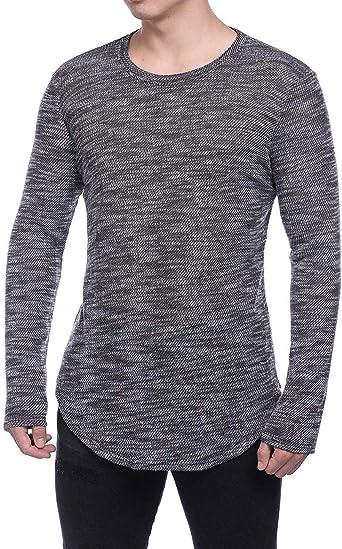 Camisa De Puente Jersey Hombres De para Punto Camisetas Modernas Casual De Músculo Delgado Top De Manga Larga para Cuello Redondo Camiseta Básica De Corte Slim: Amazon.es: Ropa y accesorios