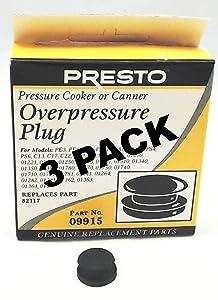 3 Pk, Presto Pressure Cooker Overpressure Plug 09915