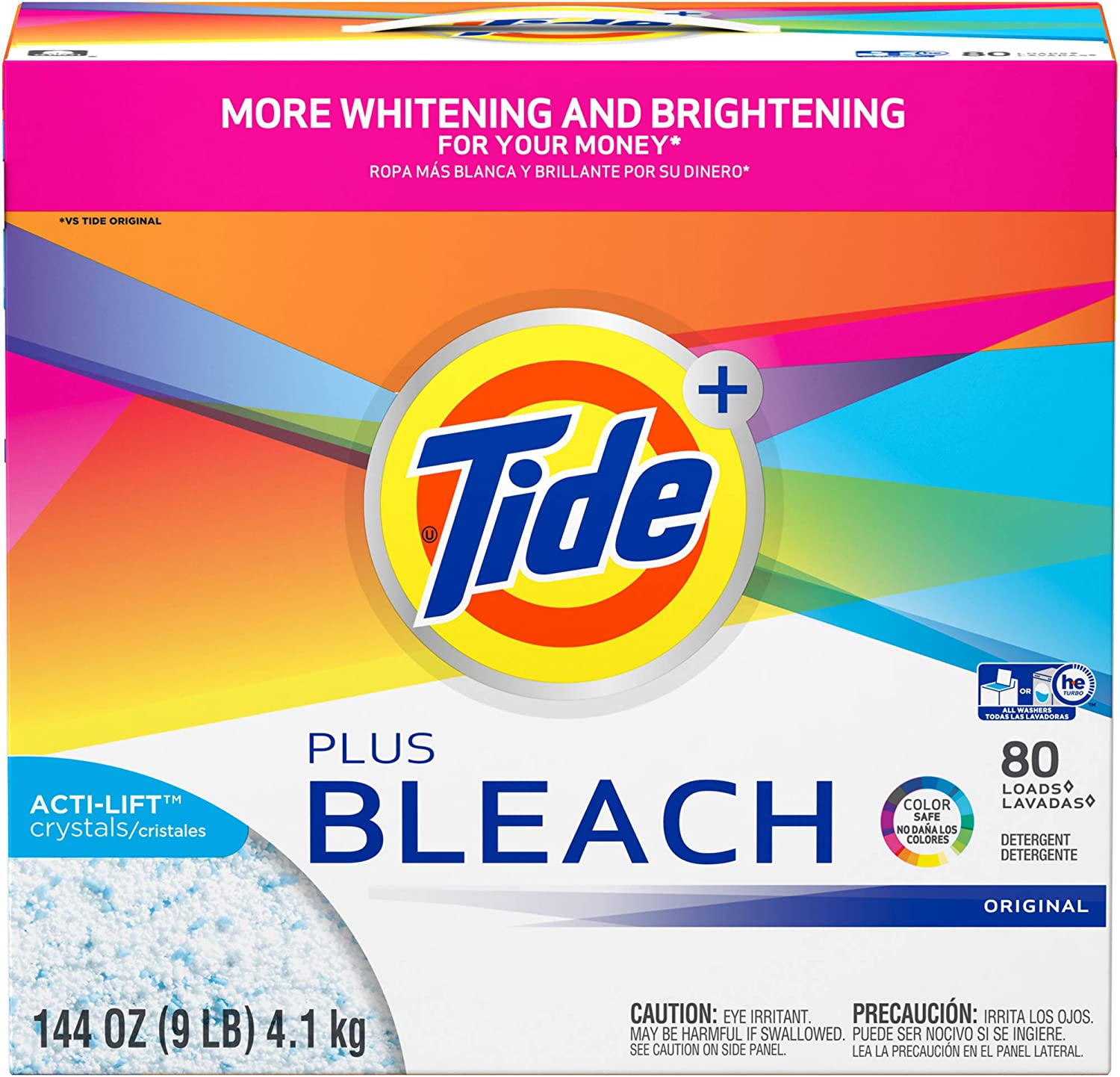 Tide Ultra Plus Bleach Original Scent Powder Laundry Detergent, 80 Loads, 144 oz