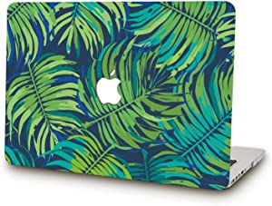SAYAKE Protective Plastic Hard Case Cover Shell for MacBook Air 13 Inch Late 2018 Model A1932 and 2020 Model A 2179(Green Leaves)