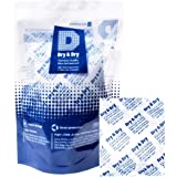 Dry & Dry 50 Gram Pack of 10 Silica Gel Packets Desiccant Dehumidifier - Rechargeable Silica Packets for Moisture Absorber