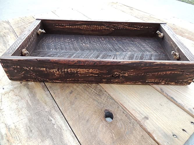 Rustic Wood Coffee Table Serving Tray w/ Southern Pine Handle - XLarge