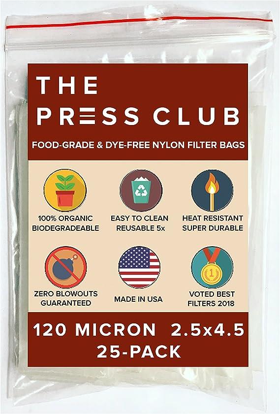 120 Micron | Premium Nylon Tea Filter Press Screen Bags | 2.5
