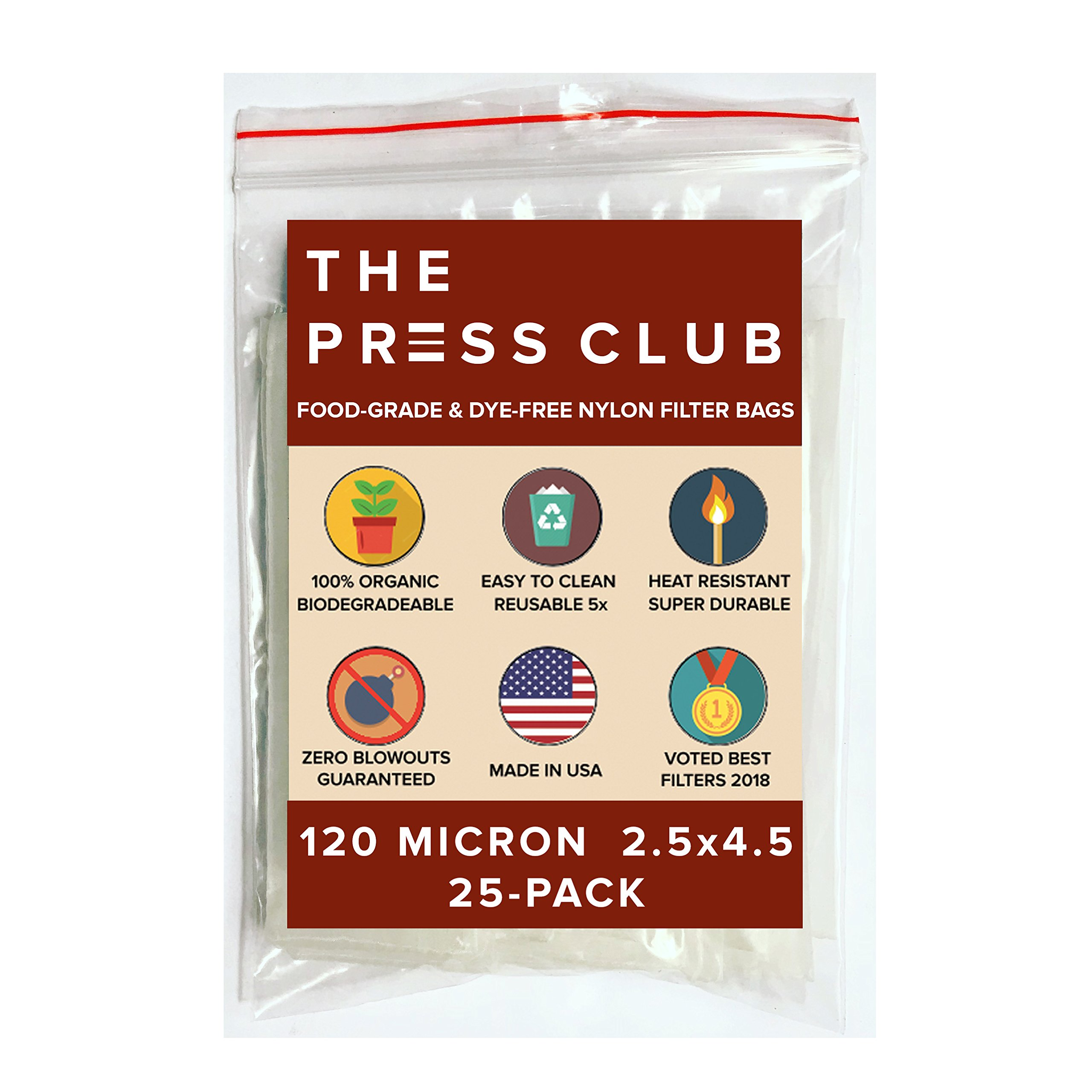 120 Micron | Premium Nylon Tea Filter Press Screen Bags | 2.5'' x 4.5'' | 25 Pack | Zero Blowout Guarantee | All Micron & Sizes Available by The Press Club