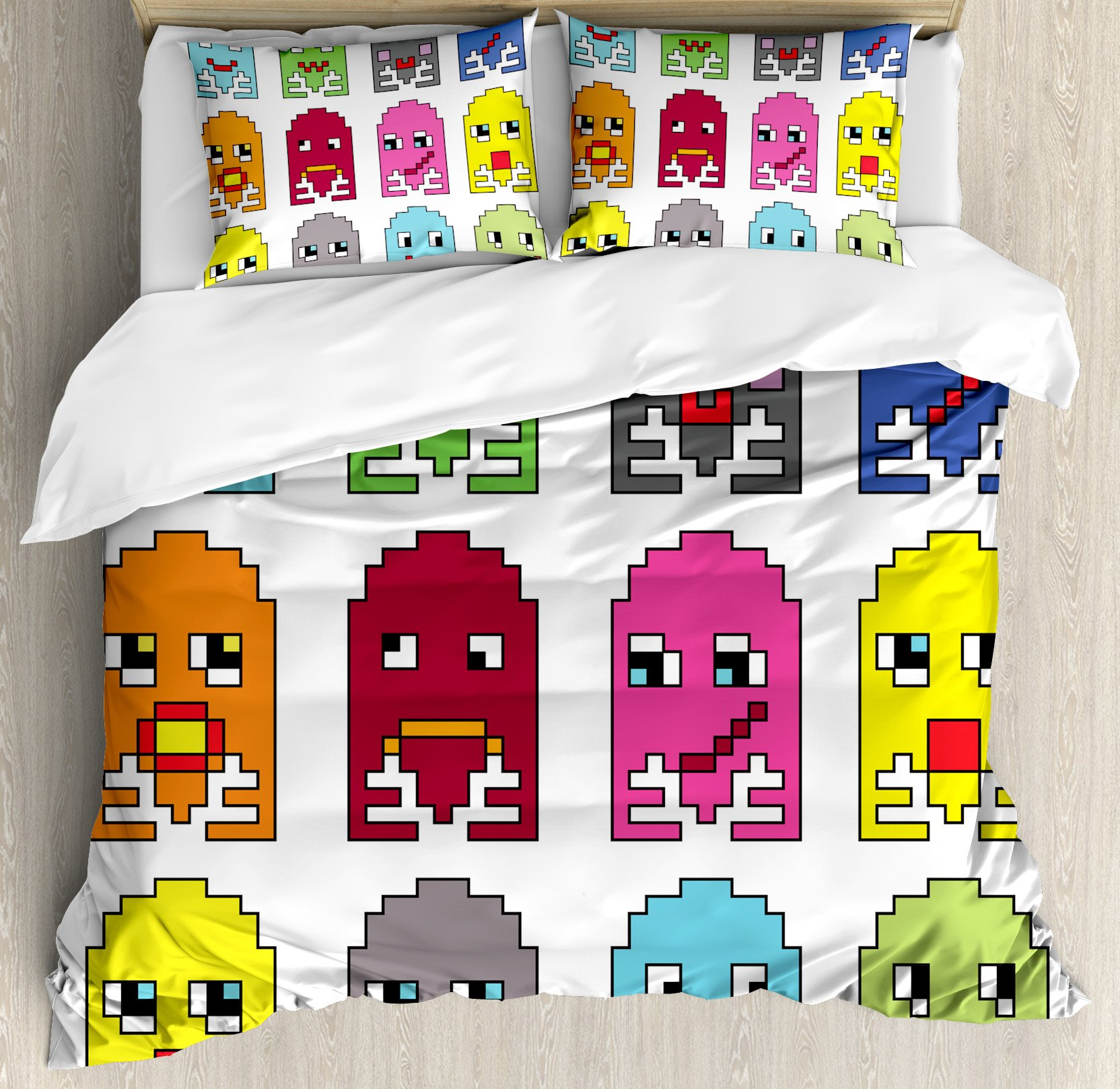 90s Duvet Cover Set by Ambesonne, 90's Vintage Video Games Style Cartoon Showing Vary Emotions with Stroke Art Print, 3 Piece Bedding Set with Pillow Shams, Queen / Full, Green Yellow