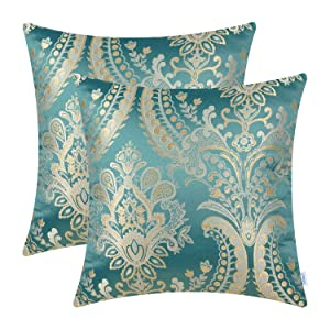 CaliTime Pack of 2 Supersoft Throw Pillow Covers Cases for Couch Sofa Home Decor Vintage Damask Fabric Floral Design 18 X 18 Inches Teal