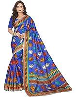e-VASTRAM Womens Daily wear Khadi Kalamkari Printed Saree (DEVIBLUE_Blue)