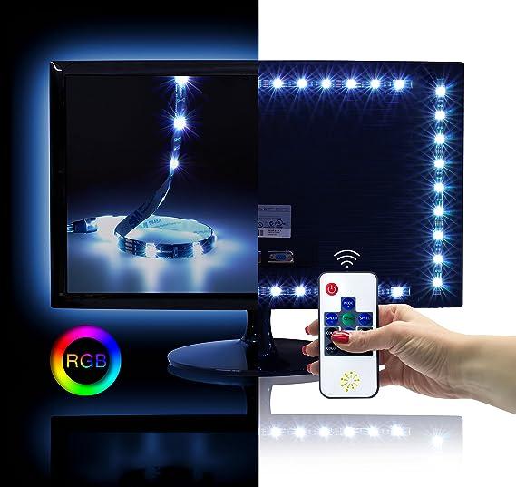 RGB LED TV Fondo Juego para 26 – 50 pulgadas (50 x 40 cm, 30 LED/M, 12 V, IP20), incluye radiocontrol y fuente de alimentación: Amazon.es: Iluminación