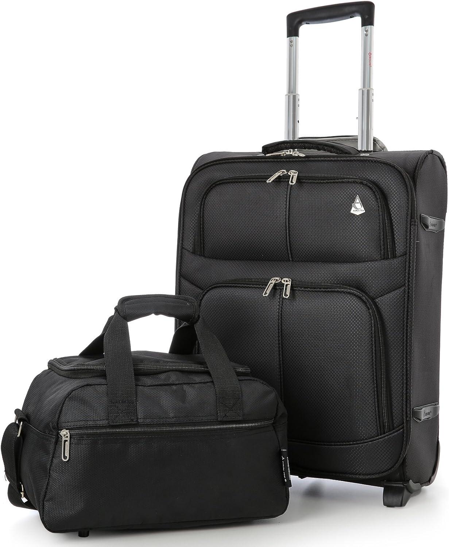 Aerolite 55x40x20 Tamaño Máximo de Ryanair y Vueling Trolley Maleta Equipaje de Mano Cabina Ligera con 2 Ruedas (Maleta + 2do Bolsa, Negro)
