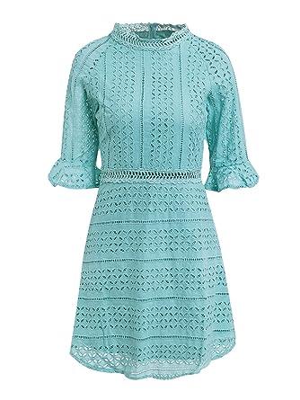 dc1409413d4a Missy Chilli Damen Kurz Kleid Elegant Langarm V-Ausschnitt Rückenfrei  Cusual Spitze Kleid mit Trompete Ärmel  Amazon.de  Bekleidung