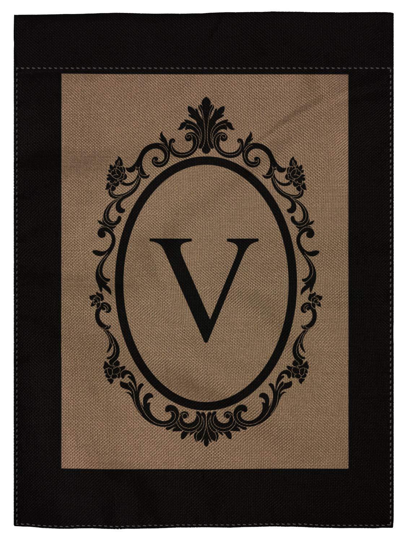 """pingpi V Garden Flag Burlap Monogram Flag Double Sided 12.5"""" X 18"""""""