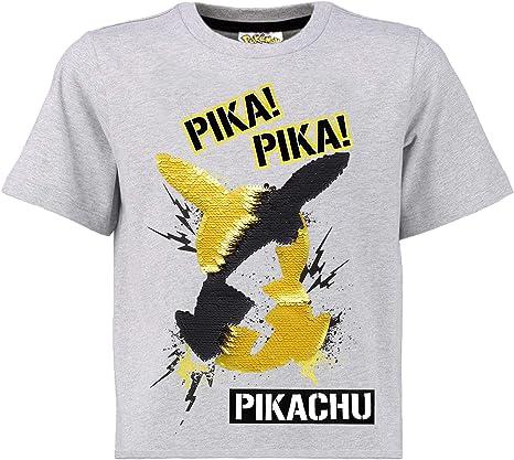 Pokèmon Camiseta Lentejuelas Reversibles para Niños | Top De Algodón Gris De Pikachu En Lentejuelas Negras Y Doradas | Idea Regalo Niños Y Adolescentes: Amazon.es: Ropa y accesorios