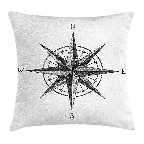 DDOBY Compass Throw Pillow Cojín, Marinero Dibujado a Mano ...