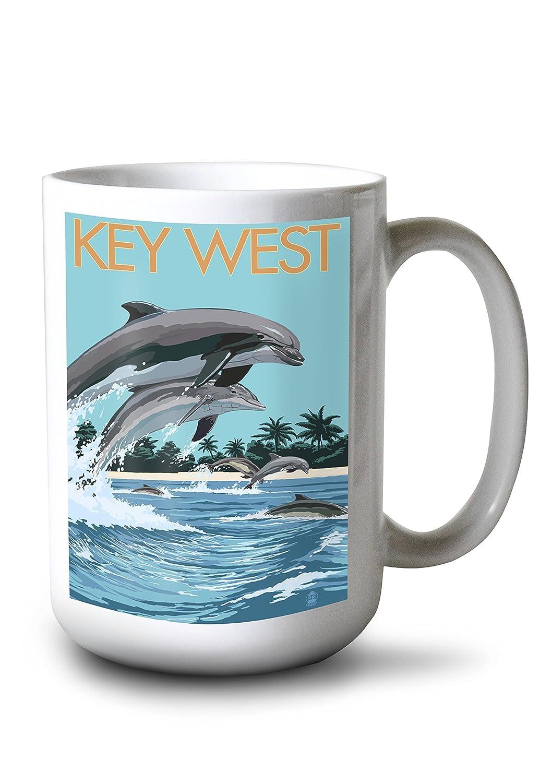 キーWest , Florida – Dolphins水泳 15oz Mug LANT-3P-15OZ-WHT-33337 B077RS96GP  15oz Mug