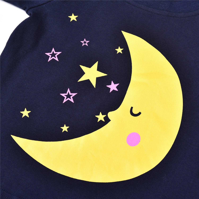 HOTER Winter Children Pajamas Set Girl Moon Pattern Kids Sleepwear 100/% Cotton Size 3-5 Years