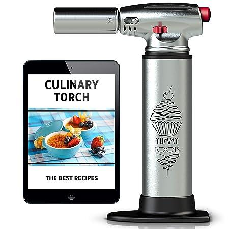 ... de aluminio mano butano linterna - linterna para cocina con 2 modos de fuego + Bonus receta E-Book - bueno para horno, barbacoa, hacer creme brulee, ...