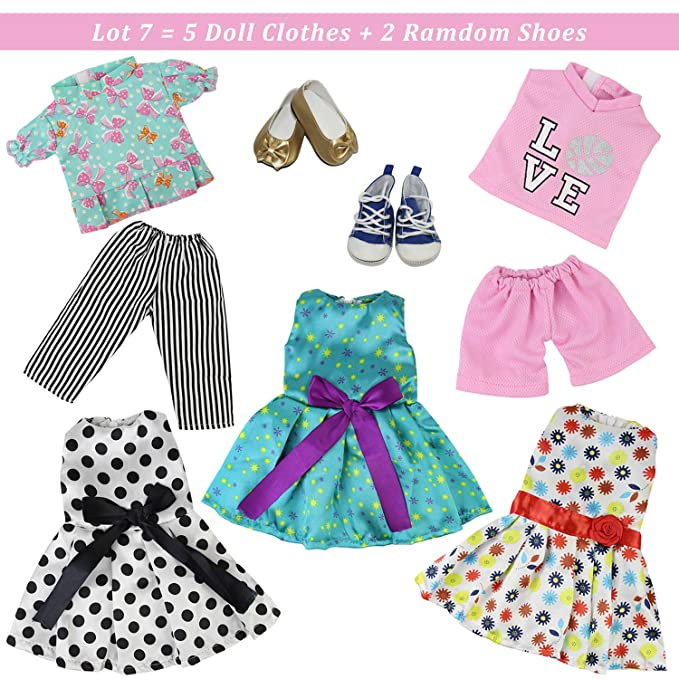 3f8fda7162 Amazon.com  ZITA ELEMENT American 18 inch Girl Doll Outfits Lot 7   5 Daily  Costumes Clothes + 2 Ramdon Style Shoes for 18