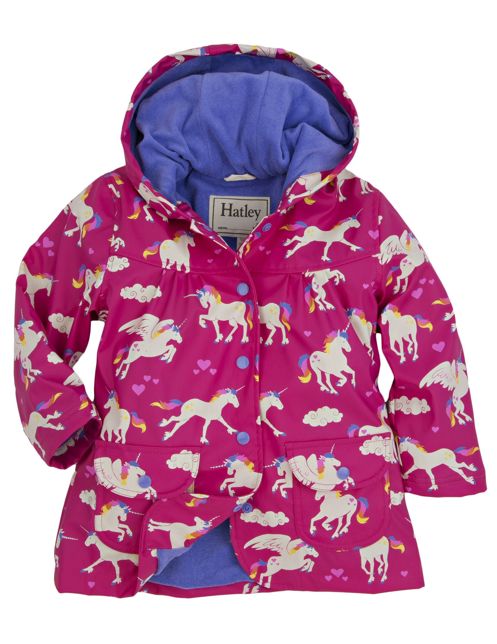 Hatley Little Girls' Raincoat Unicorns and Rainbows, Pink Unicorns and Rainbows, 4