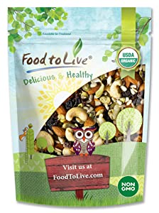 Organic Raw Seeds, Nuts and Raisins Mix, 8 Ounces - Raw and Non-GMO Trail Mix Contains Walnuts, Almonds, Cashews, Hazelnuts, and Raisins. Vegan Superfood Snack, Kosher, No Added Sugar and Oil, Bulk