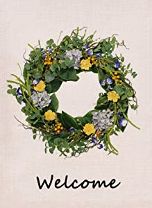 Furiaz Hydrangea Wreath Welcome Garden Flag, Fall Flower House Yard Lawn Outdoor Decorative Flag Yellow Floral, Rustic Burlap Farmhouse Autumn Outside Decorations Garland Home Decor Flag 12 x 18