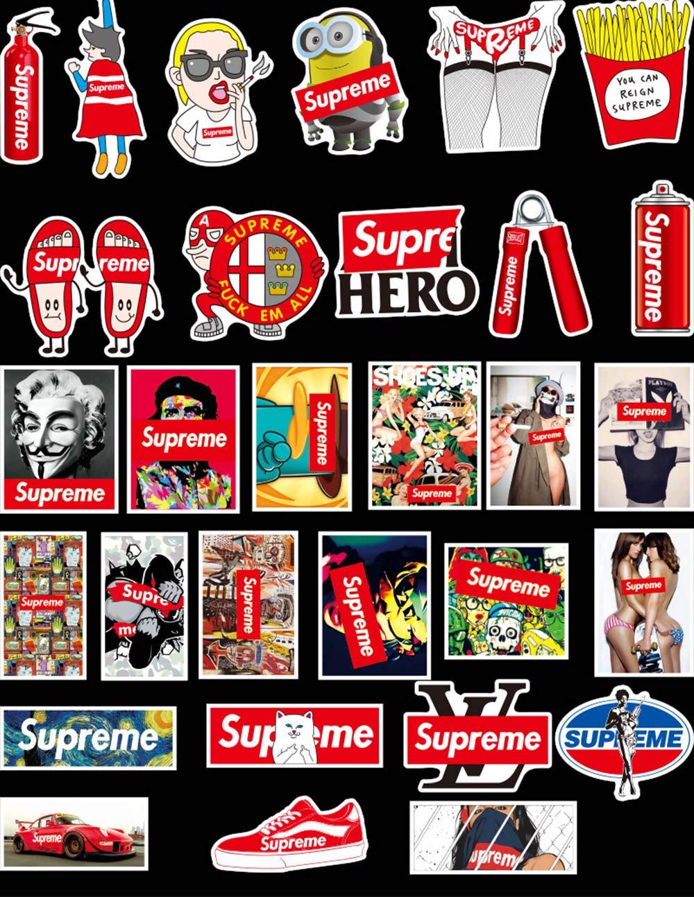 Autocollant Stickers 100 Pcs-Supreme pour ordinateur portable Stickers muraux en autocollant de voiture pour snowboard Moto ordinateur DIY clavier fen/être de voiture mural Motif graffiti patches