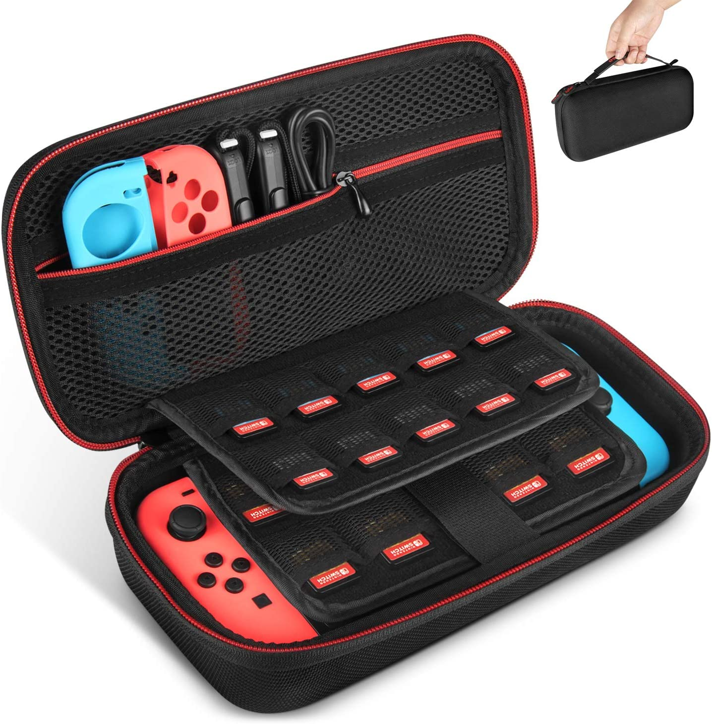 Keten - Funda de Transporte para Nintendo Switch, Funda Protectora portátil de Viaje con 19 Soportes de Cartuchos para conmutador, Consola, Joy-con y Otros Accesorios, Color Negro: Amazon.es: Informática