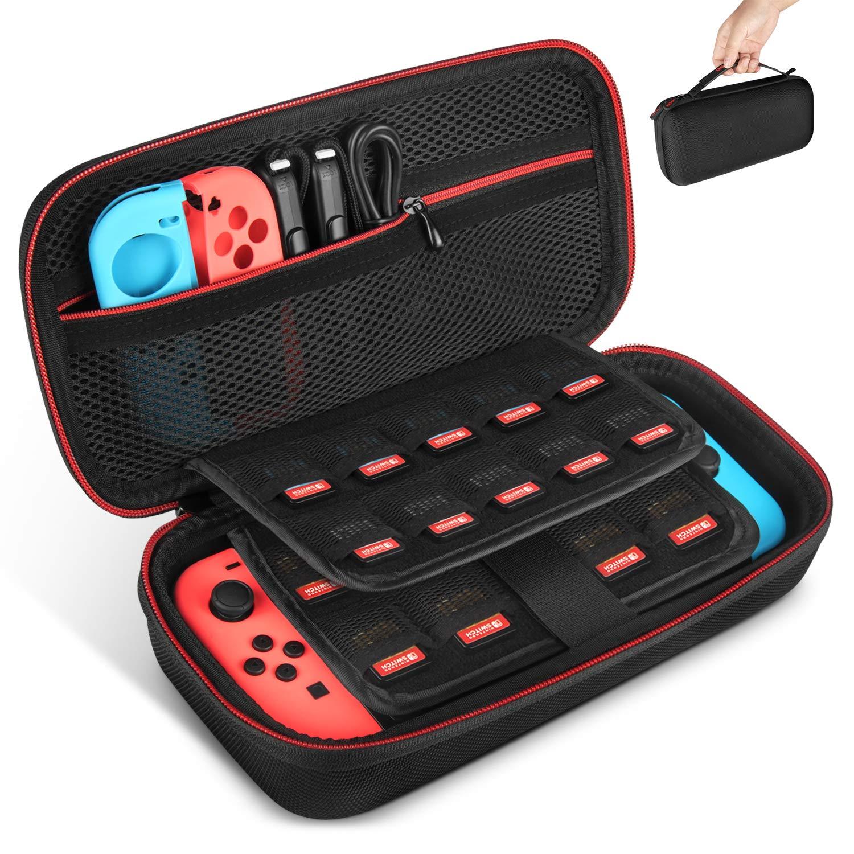 Funda para Nintendo Switch, Keten Última Versión de Estuche de Transporte Para Consola Nintendo Switch, Juegos, Joy-Con y Carcasa Dura Para 19 ...