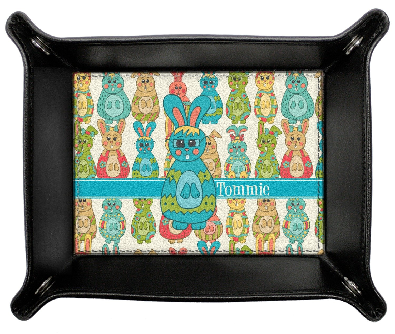 Fun Easter Bunnies Genuine Leather Valet Tray (Personalized)