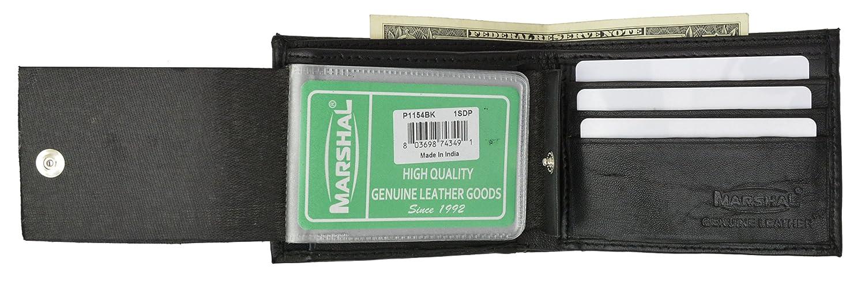 Genuine Lambskin Leather Bifold Snap Pocket Wallet Black