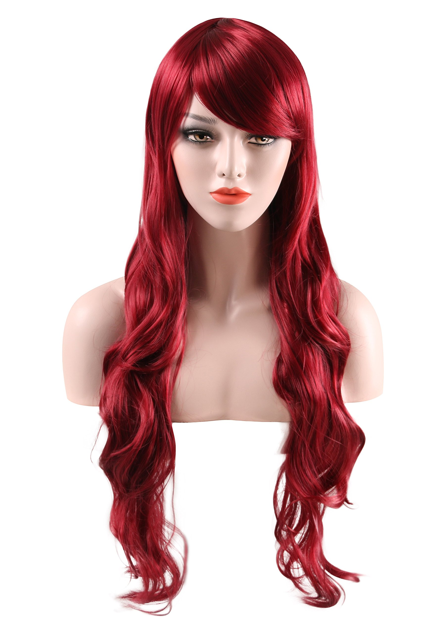 U.mslady Wigs 80 cm/32'' Women's Hair Wig Long Curly Hair Heat Resistant Spiral Wig for Cosplay/Halloween Party with Wig Cap (Dark Red)
