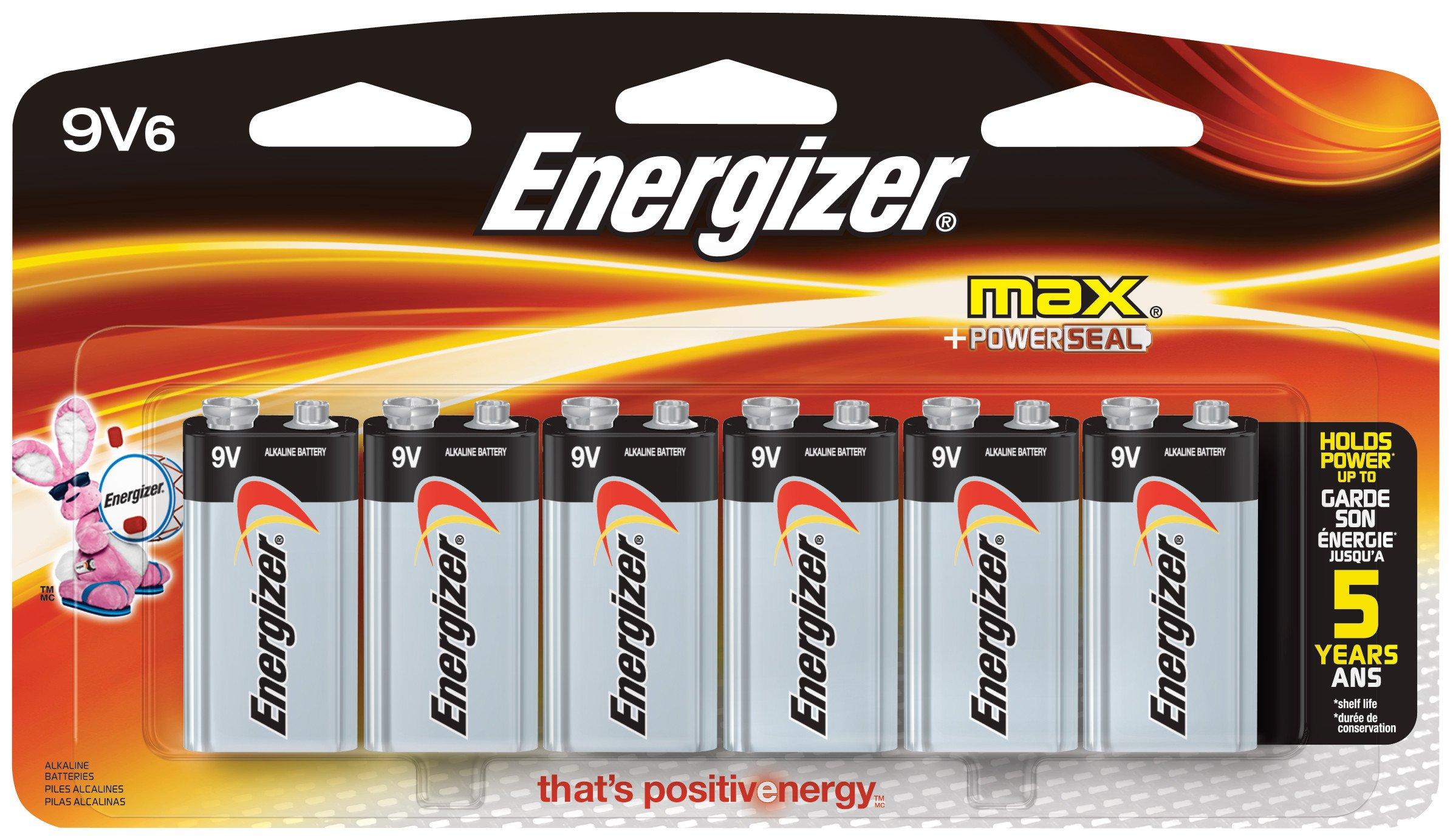 Energizer 9V Alkaline Batteries, 6 Count