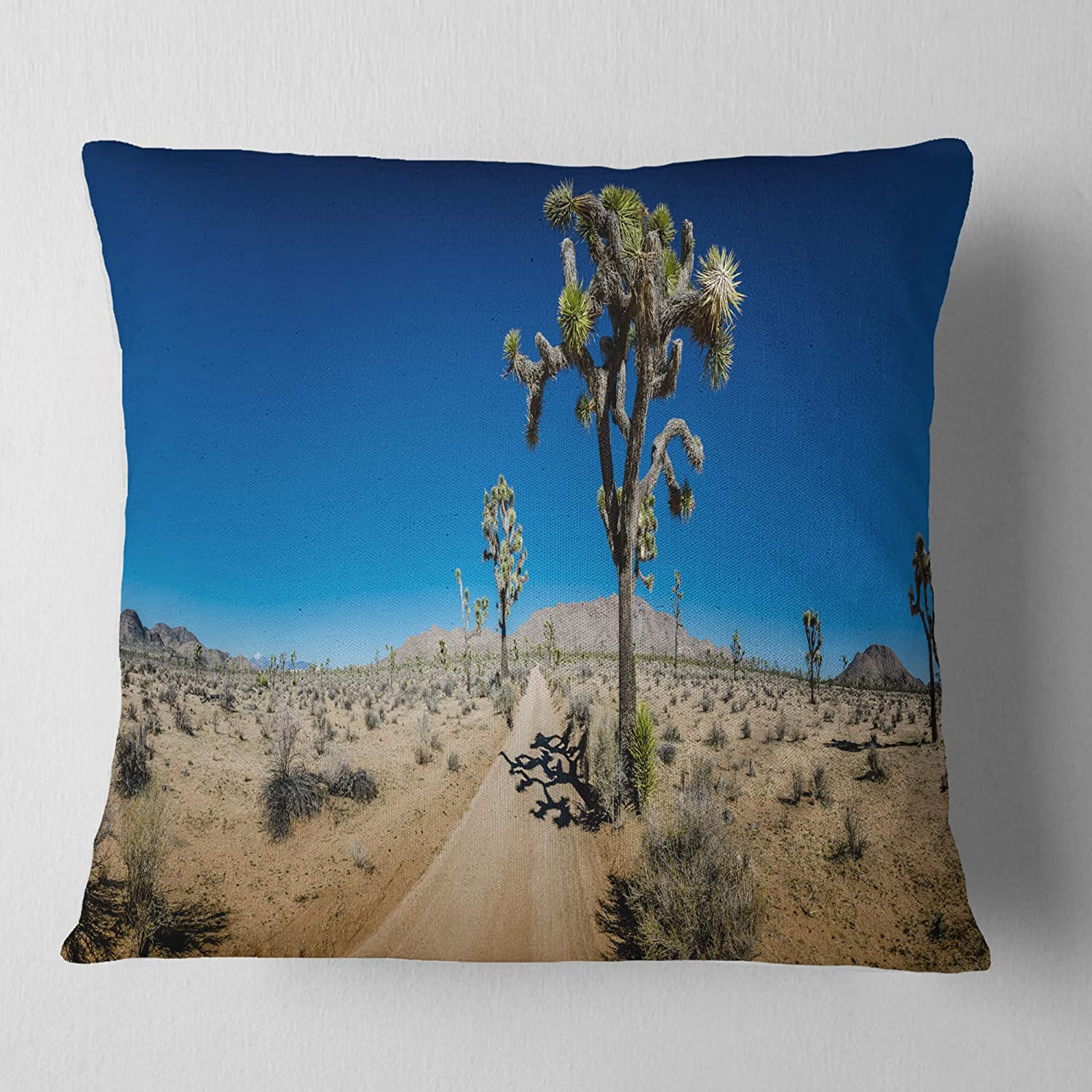x 18 in in Sofa Throw Pillow 18 in Insert Printed On Both Side Designart CU11415-18-18 Sandy Desert Road Panorama Landscape Wall Cushion Cover for Living Room