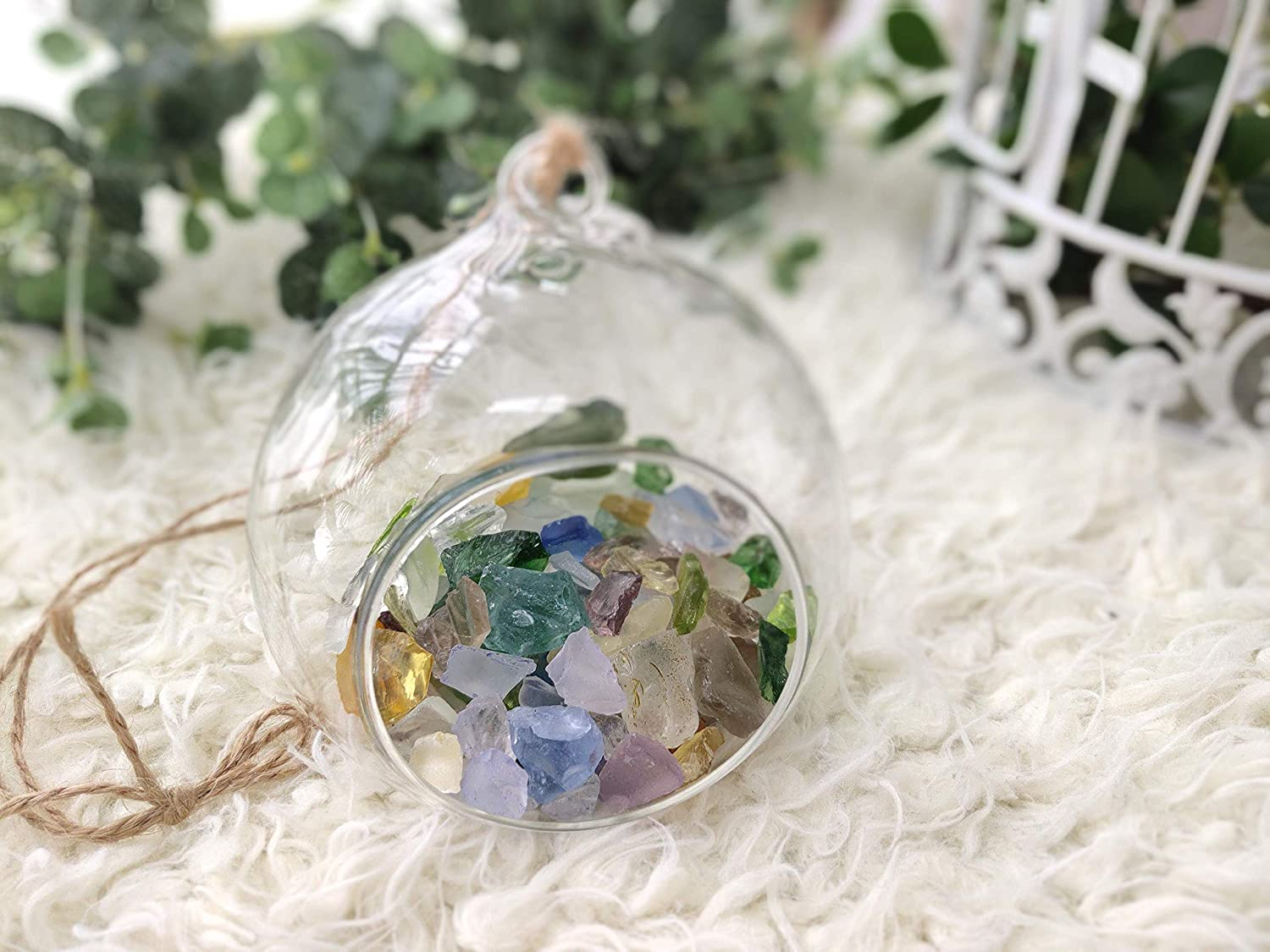 Nothing But Glass Set of 3 Hanging Air Tealight Home D/écor Holder Orbs//Succulent Plant Holder-Terrarium Planter with Color Stones Included 3.15 x 3.15