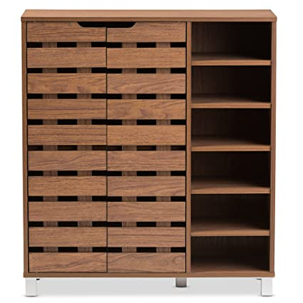 Baxton Studio Eloise Modern U0026 Contemporary Beech Wood 2 Door Shoe Cabinet  With Open Shelves,