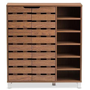 Baxton Studio Eloise Modern U0026 Contemporary Beech Wood 2 Door Shoe Cabinet  With Open Shelves,