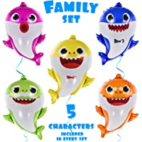 "OMG Party Factory - Large 25"" Baby Cute Shark Birthday Balloons - Birthday Party Decorations Baby Shower Supplies Helium Balloons- All Family Members Included Doo Doo (5pcs) - Globos Para Fiestas"