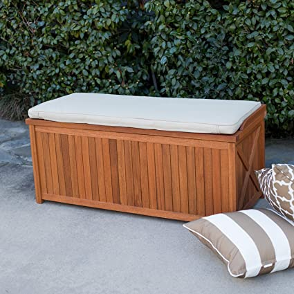 Genial Natural Wood Finish Eucalyptus Outdoor Deck Storage Box Bin Patio Storage  Bench Seat With Natural Cushion