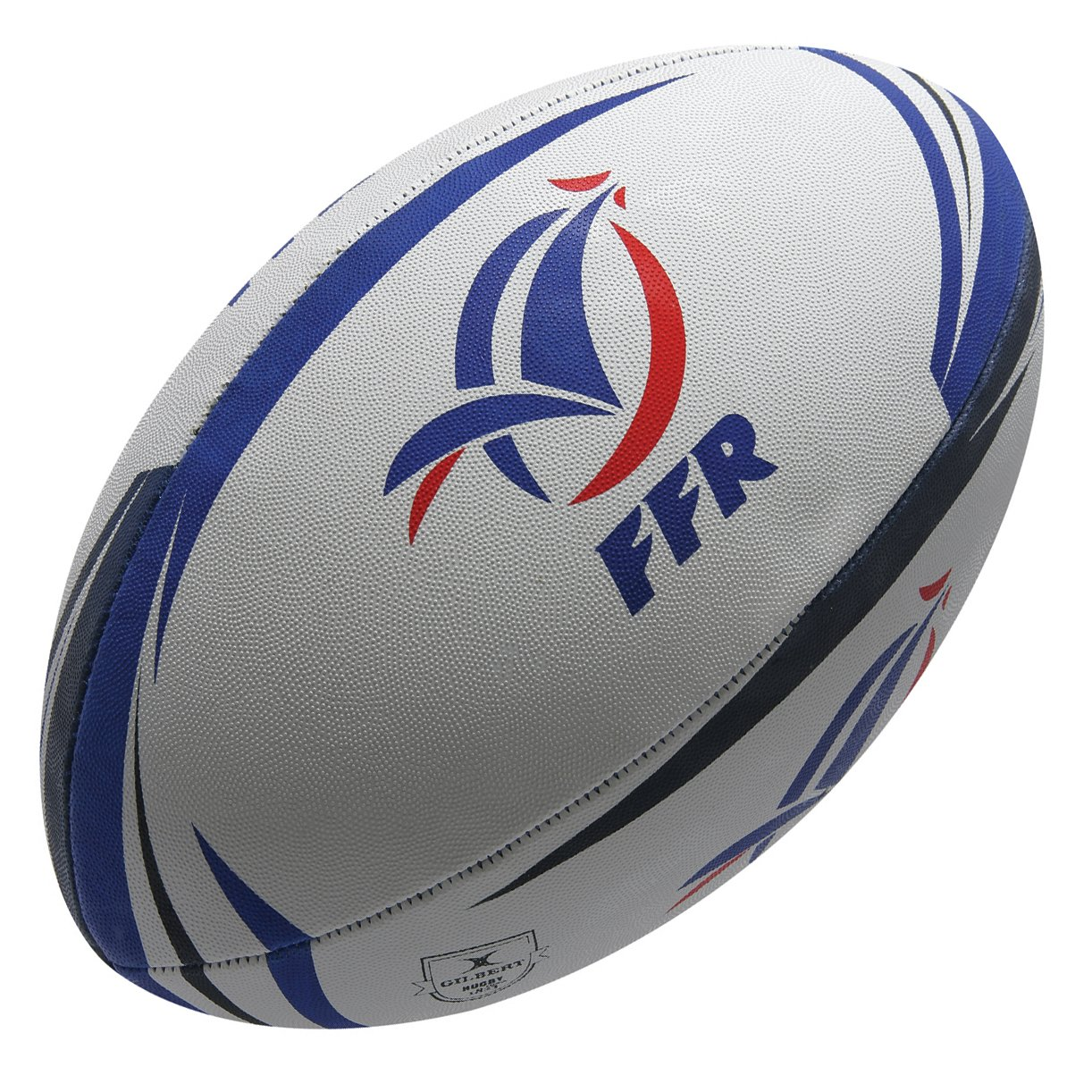 Gilbert France - Ballon de Rugby Réplique Officiel - Blanc/Bleu Marine Multicolore taille 5 Grays GIL027-FRC
