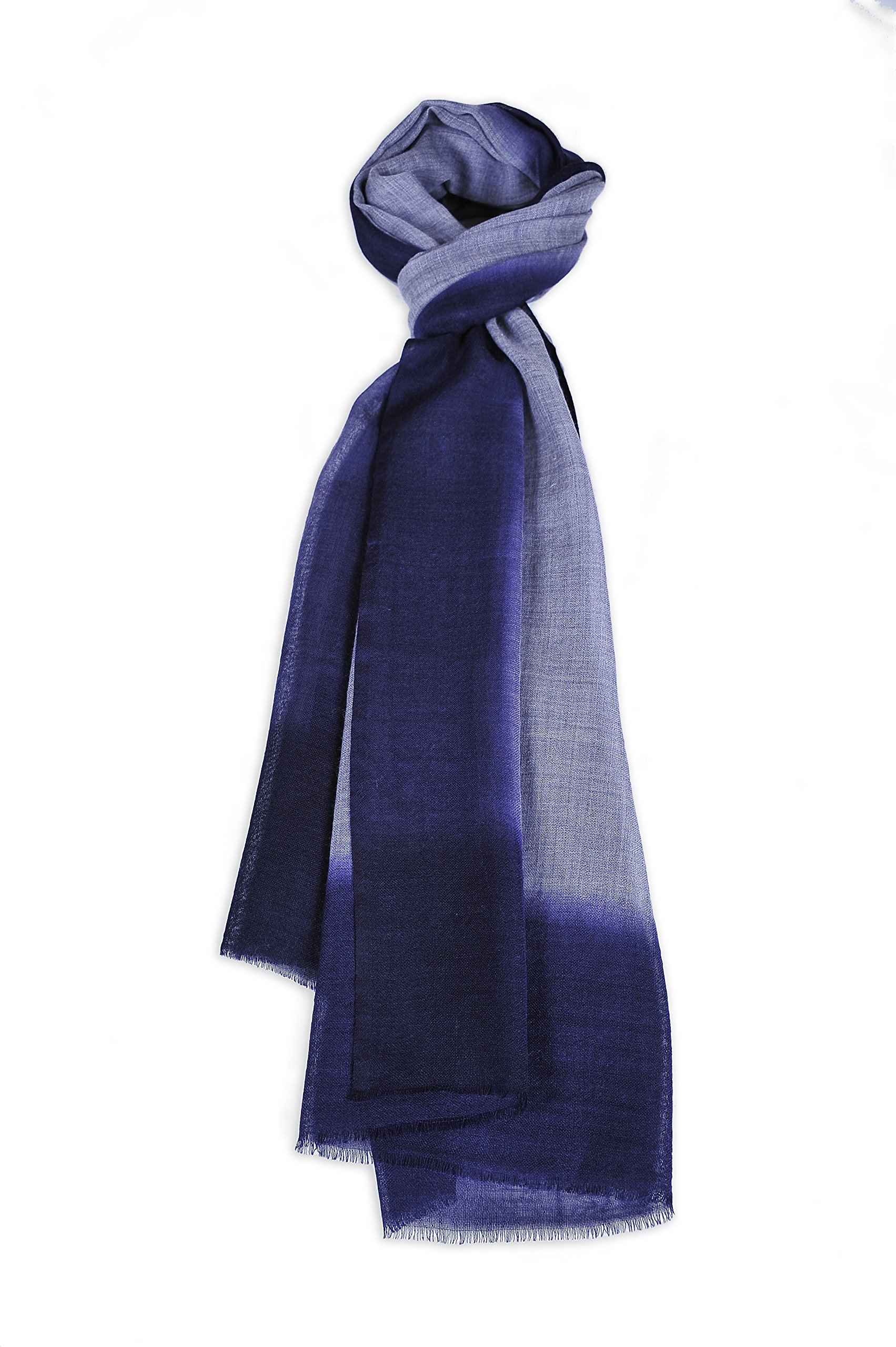 Zentopia cashmere blend handmade hand dye scarf ink style ultra light weight (Dark Purple)