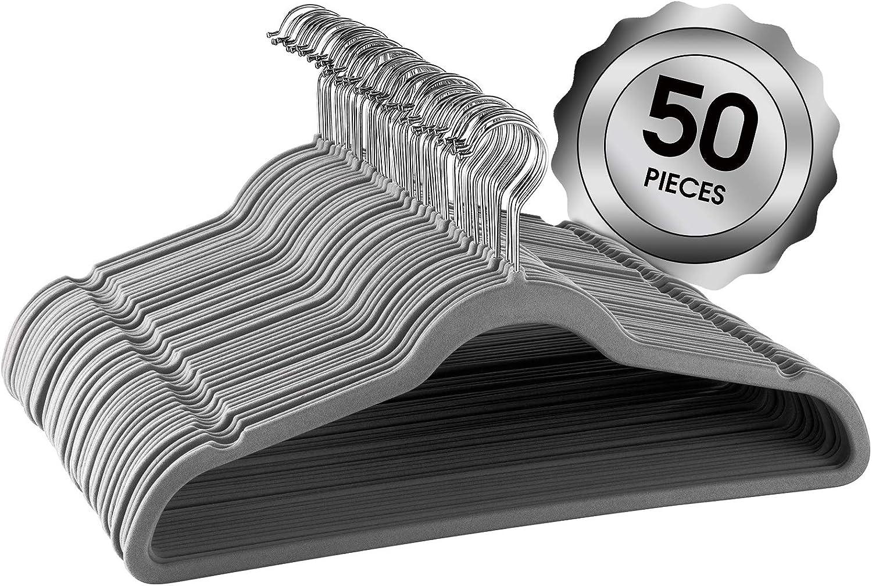Elama Home ELH-GR50 50 Piece Set of Velvet Slim Profile Heavy Duty Felt Hangers with Stainless Steel Swivel Hooks in Grey