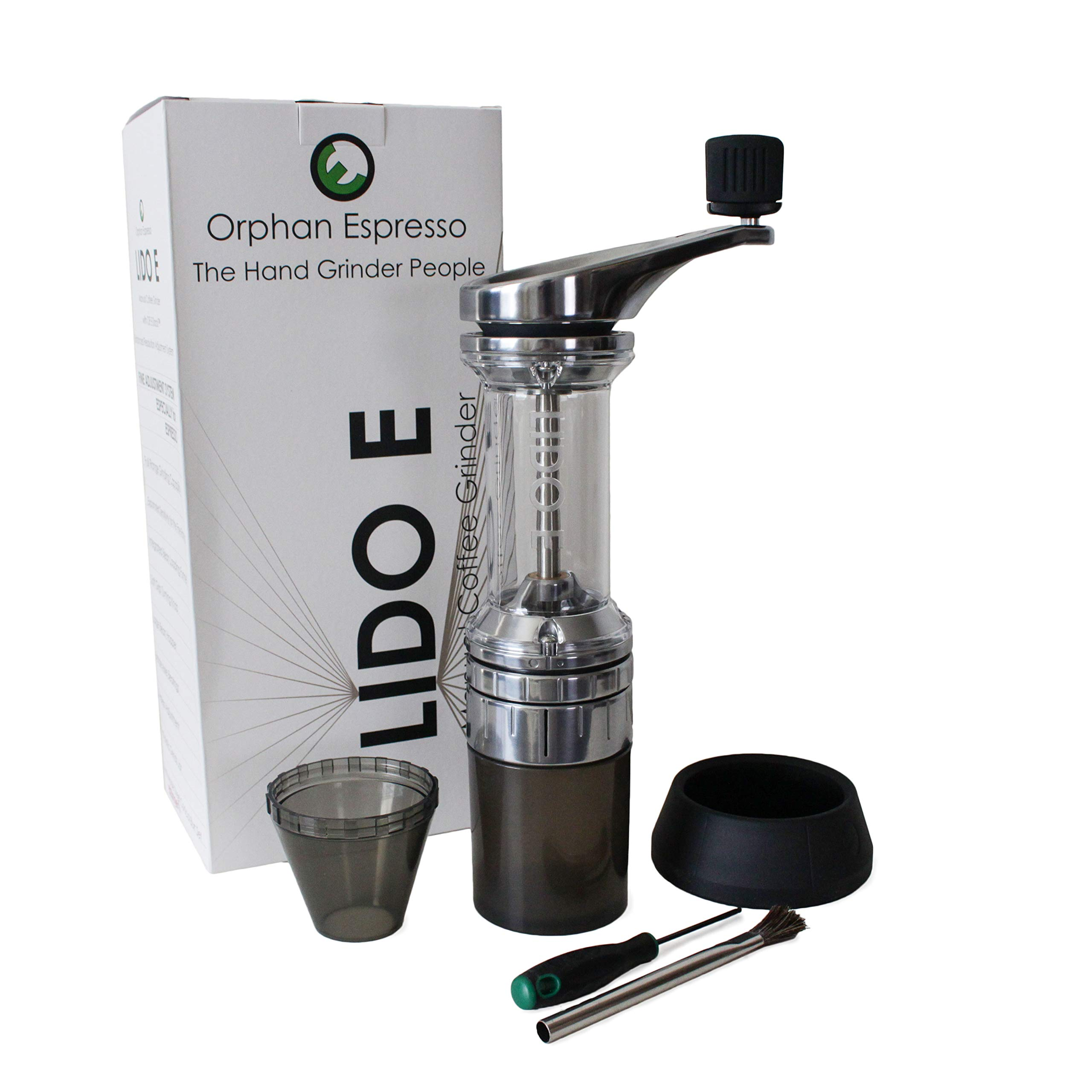 Lido E Manual Espresso & Coffee Grinder | 48mm Swiss Conical Steel Burrs | Stepless Grind Adjustment by Orphan Espresso