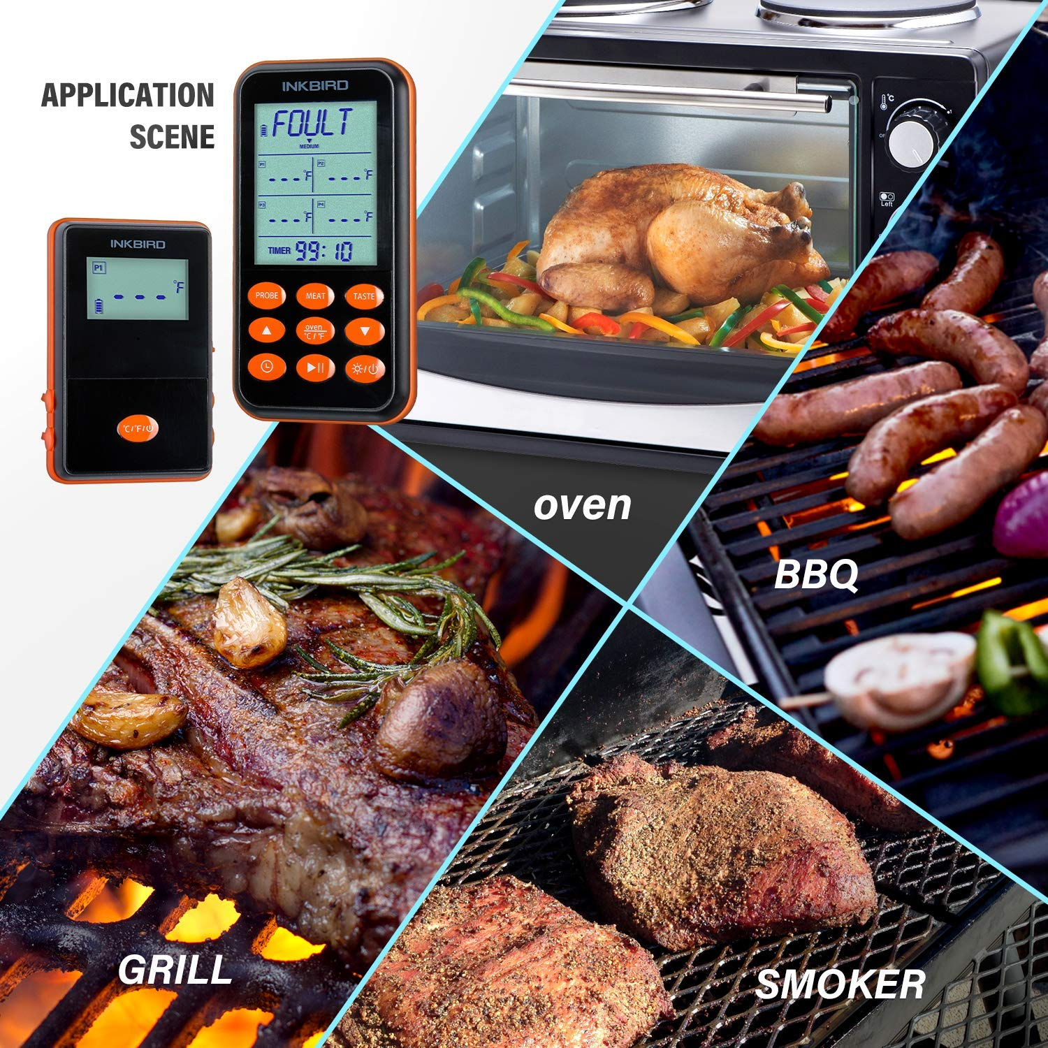 Inkbird IRF-4S 1500 Feet Waterproof Wireless BBQ Thermometer, 1000mAh Li-Battery and USB Charging Cable, Meat Grill Thermometers with Timer, Alarm for Cooking, Smoker, Barbecue (4 Probes) by Inkbird (Image #6)