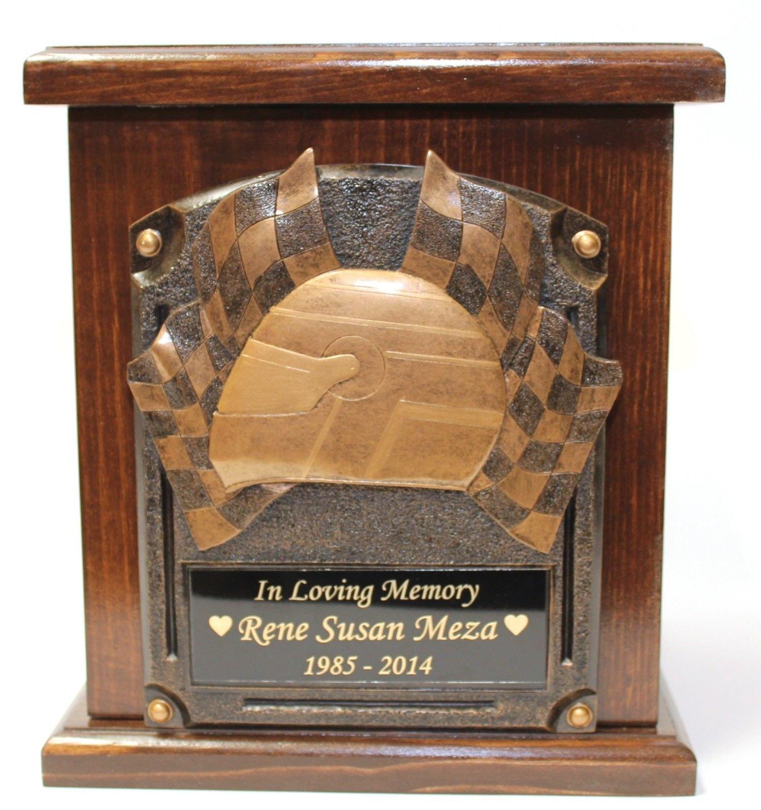 Racing,biker,motorcycle,car NASCAR funeral cremation urn,adult wood memorial urn