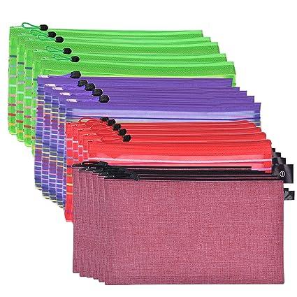 bd4ffc20943a Amazon.com: 15 Zipper Mesh Pouch Bag & 6 PU Travel Bag, Perfect for ...