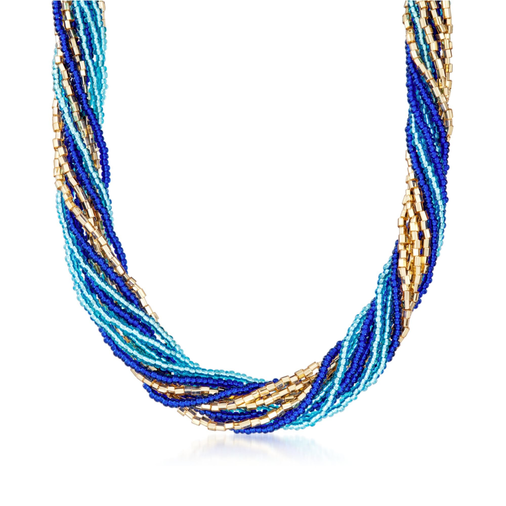 Ross-Simons Italian Blue and Golden Murano Glass Bead Torsade Necklace With 18kt Gold Over Sterling. 18''