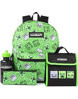 Minecraft Schoolpack - Mochila con ruedas organizada, 3 cremalleras, estuche escolar con 3 cremalleras, con licencia oficial: Amazon.es: Oficina y papelería